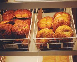 Bins of bagels