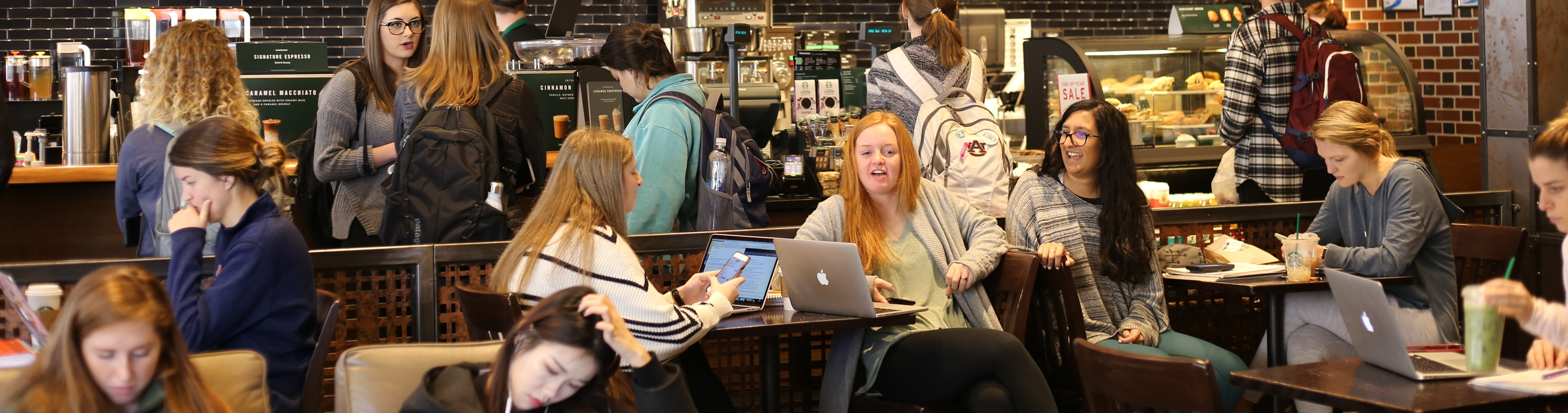 students studying at Starbucks
