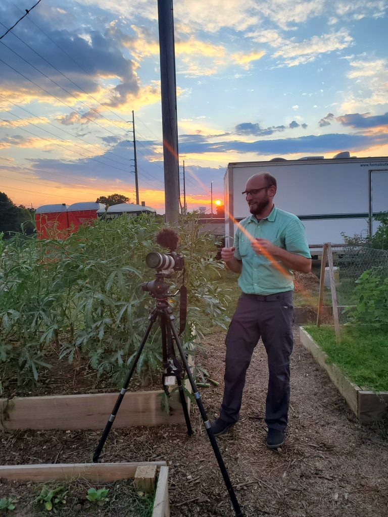 Viedo shoot at the community garden