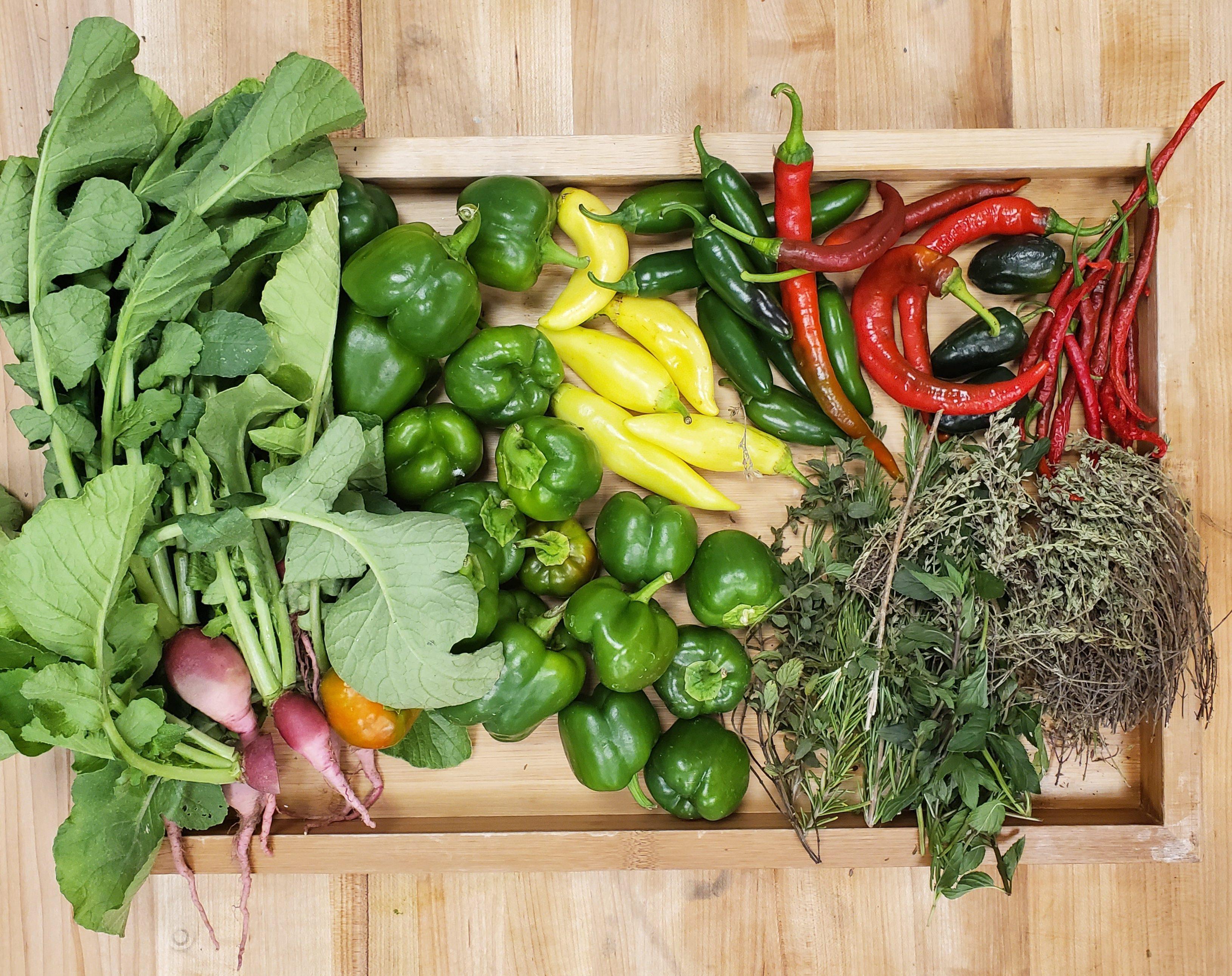 display of fresh vegetables